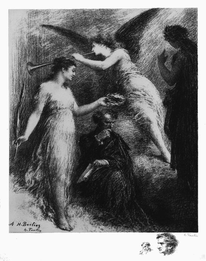 Hector Berlioz, lithographie de Fantin-Latour (1836-1904). Claude Debussy. Monsieur Croche, antidilettante, Frans leren, Vivienne  Stringa