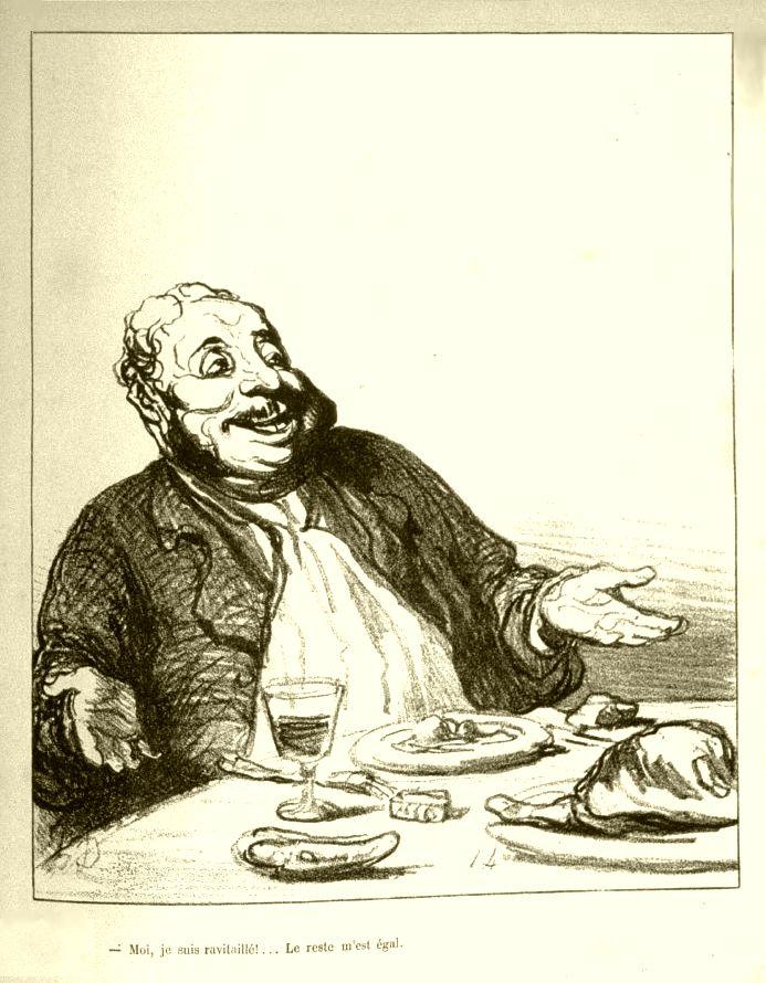 Les Arts et le commerce, Gustave Flaubert, Frans leren, Vivienne Stringa, frans vertalingen.H- Moi, je suis ravitaillé !... Le reste m'est égal. Honoré Daumier.