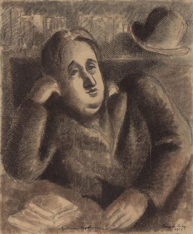 Guillaume Apollinaire, fransleren, Vivienne Stringa. Portrait de Guillaume Apollinaire, par Belay Pierre de (1890-1947)