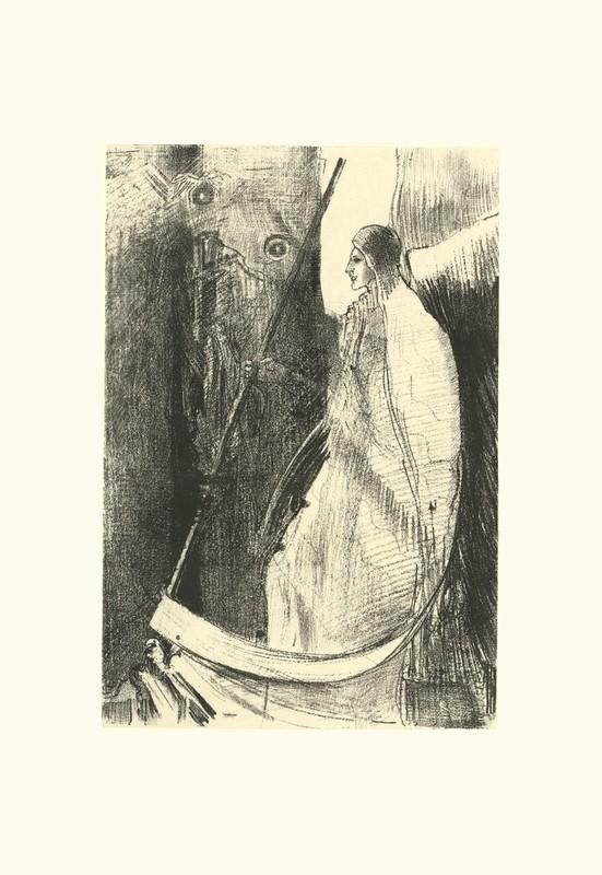 Et un autre ange sortit du temple qui est au ciel, ayant lui aussi une faucille tranchante  | estampe ) | Odilon Redon. Guillaume Apollinaire. La chanson du Mal-Aimé. Et je chantais cette romance En 1903 sans savoir Que mon amour à la semblance Du beau Phénix s'il meurt un soir Le matin voit sa renaissance. Léo ferré. Frans leren, Vivienne Stringa
