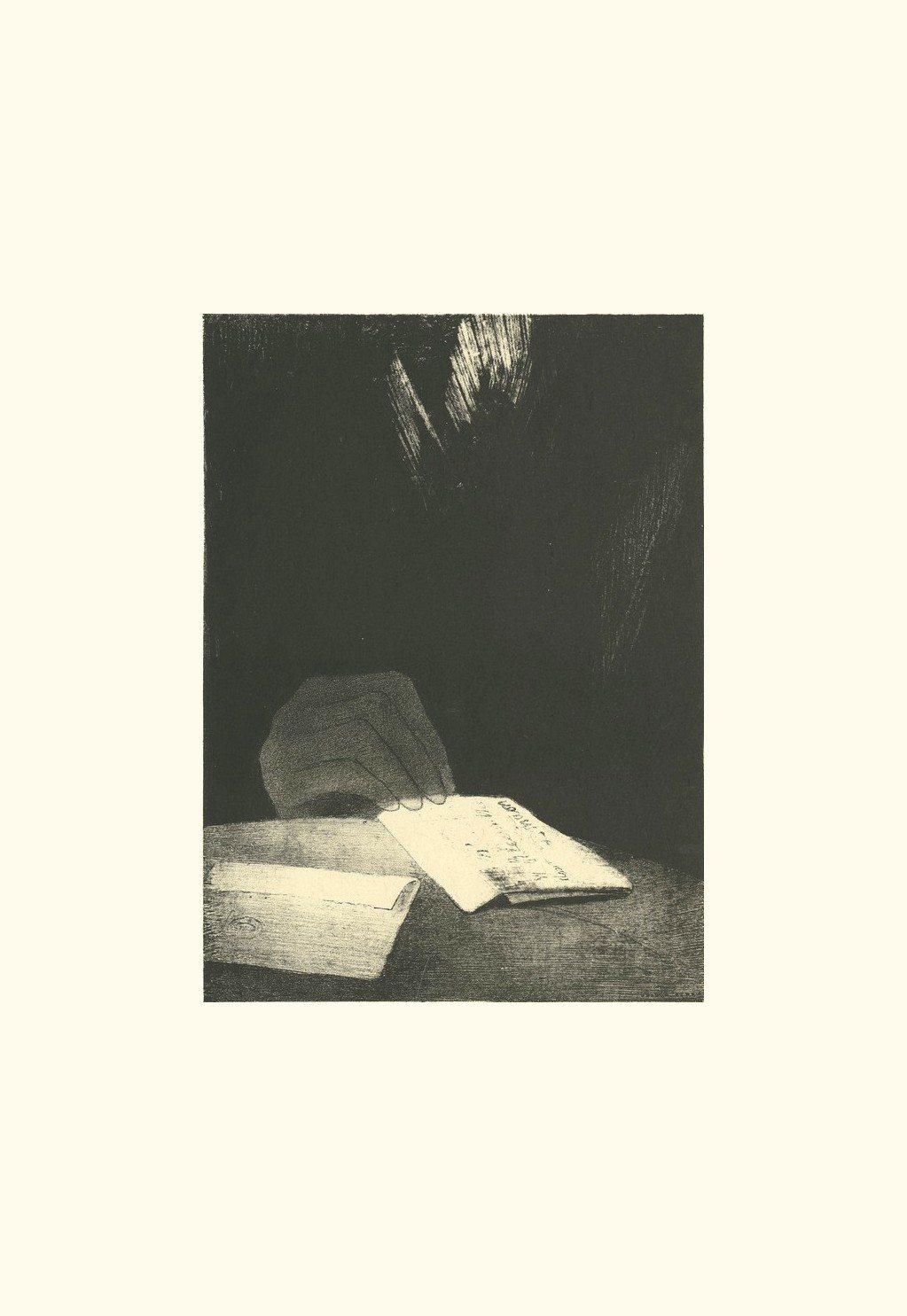 Selon toute apparence, c'était une main de chair et de sang :  | estampe ) | Odilon Redon. Guillaume Apollinaire. La chanson du Mal-Aimé. Et je chantais cette romance En 1903 sans savoir Que mon amour à la semblance Du beau Phénix s'il meurt un soir Le matin voit sa renaissance. Léo ferré. Frans leren, Vivienne Stringa