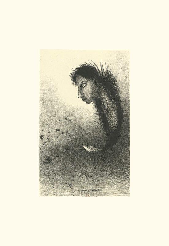 Ensuite parait un être singulier, ayant une tête d'homme sur un corps de poisson | Odilon Redon. Arthur Rimbaud.  Jadis, si je me souviens bien, Mauvais sang, Nuit de l'enfer, Délires I Vierge folle, L'Époux infernal, Délires II , Alchimie du verbe, L'impossible, L'éclair, Matin, Adieu. Frans leren Vivienne Stringa.