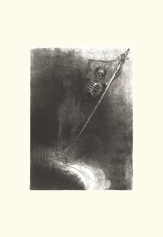 ..... et celui qui était monté dessus se nommait la Mort  | Odilon Redon. Guillaume Apollinaire. La chanson du Mal-Aimé. Et je chantais cette romance En 1903 sans savoir Que mon amour à la semblance Du beau Phénix s'il meurt un soir Le matin voit sa renaissance. Léo ferré. Frans leren, Vivienne Stringa