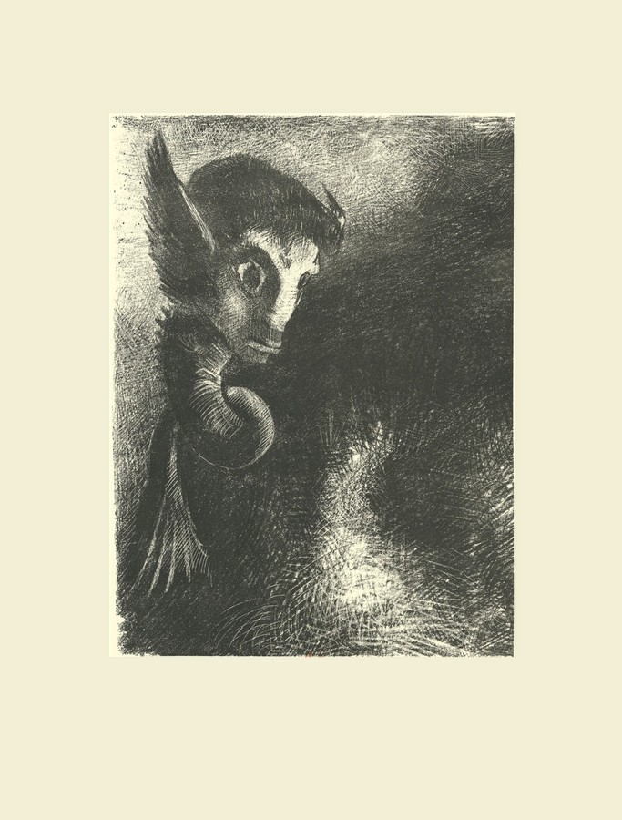 Guillaume Apollinaire - L'œuvre du Marquis de Sade, introduction, frans leren, Vivienne Stringa. La chimère regarda avec effroi toutes choses | estampe | Odilon Redon