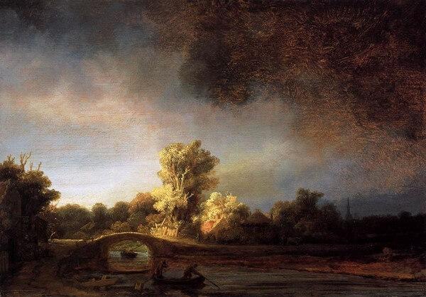 Haarlem. Odilon Redon. À soi-même, Journal (1867-1915) Notes sur l'art la vie et les artistes. Rembrandt, Paysage avec pont de pierre
