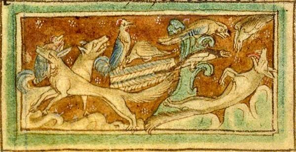vers le site Roman de Renart Bestiaire médiéval Renard faisant le mort