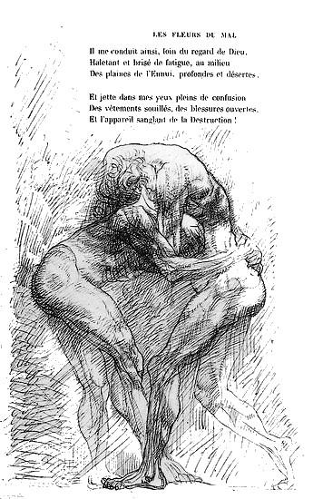 Auguste Rodin, illustration pour les fleurs du mal