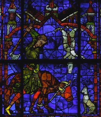Vitrail de David et Ezéchiel Cathédrale de chartres, On notera le sens des détails. L'animal est aveuglé par un tissu. Le boucher a retourné sa hache puisqu'il assomme avec la cognée.