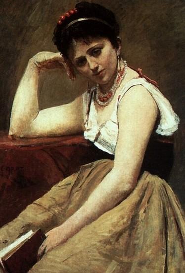 Camille Corot (1796-1875), La Lecture interrompue.
