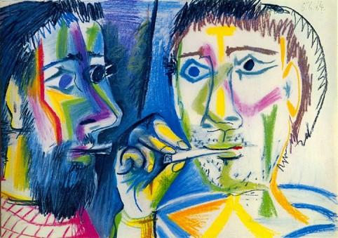 Picasso Pablo, 1881-1973,  Title : Deux fumeurs (Têtes) Date:1964, Crayons de couleur et pastel sur papier. Georges Dubosc  étude historique très bien documentée sur l'introduction des Cigares et cigarettes en France.  texte audio,scholen, docenten,  methode spreekvaardigheid, mondeling eindexamen Frans, mondeling oefenen Frans