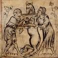 Fauvain et ses deux acolytes, Ghille et Barat (un nom de voleur dans les fabliaux), boivent à la  coupe de fausseté.