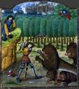 Hercule et le lion de NéméeMiddeleeuws dierenboek, miniatuurschilderingen, Guiard des Moulins, Bible historiale, XIVe eeuw, Samson, Daniel, Hercules en de leeuw van Nemea, Allegorie der hoofdzonden, Middeleeuwse literatuur, Frans leren à la française, Vivienne Stringa