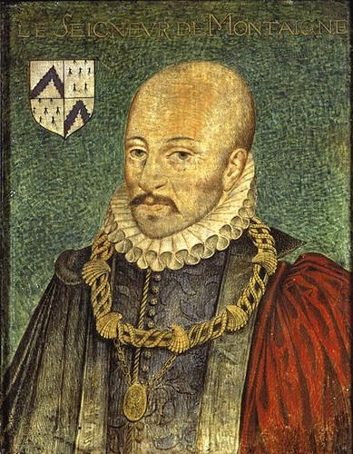 Montaigne, auteur anonyme (anciennement attribué à Dumonstier) Repris par Thomas de Leu pour orner l'édition des Essais de 1608. Musée Condé.