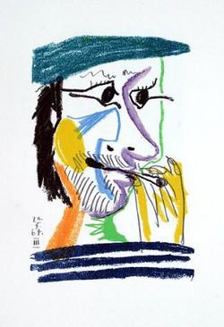 Pablo Picasso Le Fumeur, Litografie 21 x 14 cm, 1964.Georges Dubosc  étude historique très bien documentée sur l'introduction des Cigares et cigarettes en France.  texte audio,scholen, docenten,  methode spreekvaardigheid, mondeling eindexamen Frans, mondeling oefenen Frans